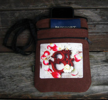 OM with rose petals Hemp 3 Zip bag/purse