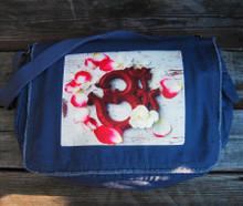 Om with rose petals messenger bag