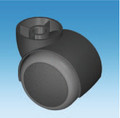 50mm Grey Twin Soft Tyre Swivel Castors & 36mm Tower  with choice of Stem Size or Fixing Plate