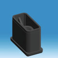 60mm x 30mm x 2mm M10 Threaded Rectangular Insert.  Push into a rectangular tube and use with an adjuster or castor.
