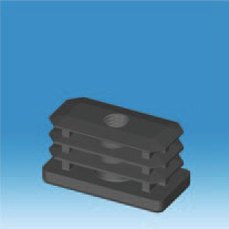 50mm x 25mm M10 Threaded Rectangular Insert.  Push into a rectangular tube and use with an adjuster or castor.