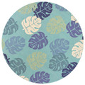 """""""LAHAINA"""" TROPICAL FOLIAGE INDOOR OUTDOOR RUG - 7'6"""" ROUND"""