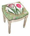 TULIP GARDEN NEEDLEPOINT UPHOLSTERED STOOL - VANITY SEAT - ANTIQUE WHITE FRAME