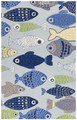 "SCHOOL OF FISH HAND HOOKED RUG - 5' X 7'6"" - NAUTICAL DECOR"