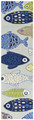 "SCHOOL OF FISH HAND HOOKED RUG - 24"" x 90"" RUNNER - NAUTICAL DECOR"