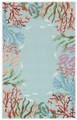 """CATALINA"" HAND HOOKED CORAL REEF BORDER RUG - BLUE - 5' x 7'6"" - NAUTICAL DECOR"