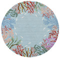 """CATALINA"" HAND HOOKED CORAL REEF BORDER RUG - BLUE - 7'6"" ROUND RUG - NAUTICAL DECOR"