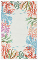 """CATALINA"" HAND HOOKED CORAL REEF BORDER RUG - IVORY - 27"" x 45"" - NAUTICAL DECOR"