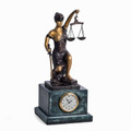 KNEELING LADY JUSTICE ON MARBLE BASE MANTEL CLOCK - LAWYERS & LEGAL