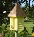"""HIGHCLERE GARDENS"" YELLOW BUTTERFLY HOUSE WITH COPPER ROOF - GARDEN DECOR"
