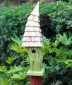 """CARDIFF"" CROOKED BIRDHOUSE - CITRUS GREEN - GARDEN DECOR"