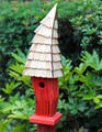 """CARDIFF"" CROOKED BIRDHOUSE - RED - GARDEN DECOR"
