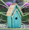 """BRIGHTON BUNGELOW"" WOODEN BIRDHOUSE - TURQUOISE - GARDEN DECOR"
