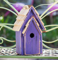 """BRIGHTON BUNGELOW"" WOODEN BIRDHOUSE - PURPLE - GARDEN DECOR"