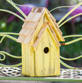 """BRIGHTON BUNGELOW"" WOODEN BIRDHOUSE - YELLOW - GARDEN DECOR"