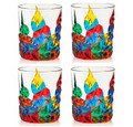 RAVELLO STEMLESS WINE | OLD FASHIONED GLASSES - SET OF FOUR - HAND PAINTED VENETIAN GLASSWARE