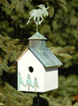 """MOOSE LODGE"" WOODEN BIRDHOUSE WITH VERDIGRIS MOOSE FINIAL - GARDEN & OUTDOOR DECOR"