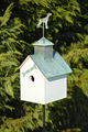 """IN THE DOG HOUSE"" WOODEN BIRDHOUSE WITH VERDIGRIS DOG FINIAL - GARDEN & OUTDOOR DECOR"