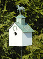 """WILD STALLION"" WOODEN BIRDHOUSE WITH VERDIGRIS HORSE FINIAL - GARDEN & OUTDOOR DECOR"