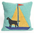 """""""BLACK LAB BAY"""" HAND TUFTED INDOOR OUTDOOR PILLOW - 18"""" SQUARE"""