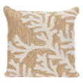 """""""CAPE CORAL"""" HAND TUFTED INDOOR OUTDOOR PILLOW - NATURAL - 18"""" SQUARE - COASTAL & NAUTICAL DECOR"""