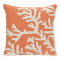 """""""CAPE CORAL"""" HAND TUFTED INDOOR OUTDOOR PILLOW - CORAL - 18"""" SQUARE - COASTAL & NAUTICAL DECOR"""