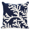 """""""CAPE CORAL"""" HAND TUFTED INDOOR OUTDOOR PILLOW - NAVY - 18"""" SQUARE - COASTAL & NAUTICAL DECOR"""