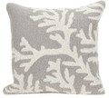 """CAPE CORAL"" HAND TUFTED INDOOR OUTDOOR PILLOW - SILVER - 18"" SQUARE - COASTAL & NAUTICAL DECOR"