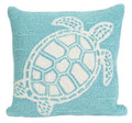 """""""TURTLE KEY"""" TUFTED INDOOR OUTDOOR PILLOW - BLUE GREEN - 18"""" SQUARE - COASTAL & NAUTICAL DECOR"""