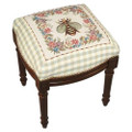 NAPOLEONIC BEE NEEDLEPOINT UPHOLSTERED STOOL - VANITY SEAT