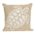 """""""TURTLE KEY"""" TUFTED INDOOR OUTDOOR PILLOW - NATURAL - 18"""" SQUARE - COASTAL & NAUTICAL DECOR"""