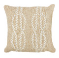 """NAUTICAL KNOTS"" TUFTED INDOOR OUTDOOR PILLOW - NATURAL - 18"" SQUARE - COASTAL & NAUTICAL DECOR"