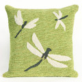 """""""DRAGONFLY DANCE"""" TUFTED INDOOR OUTDOOR PILLOW - 18"""" SQUARE - GREEN"""