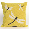 """""""DRAGONFLY DANCE"""" TUFTED INDOOR OUTDOOR PILLOW - 18"""" SQUARE - YELLOW"""