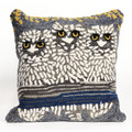 """""""NIGHT OWLS"""" HAND TUFTED INDOOR OUTDOOR PILLOW - 18"""" SQUARE"""