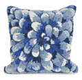 """""""BLUE CHRYSANTHEMUM"""" HAND TUFTED INDOOR OUTDOOR PILLOW - 18"""" SQUARE - FLORAL DECOR"""
