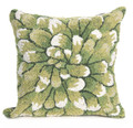 """""""GREEN CHRYSANTHEMUM"""" HAND TUFTED INDOOR OUTDOOR PILLOW - 18"""" SQUARE - FLORAL DECOR"""