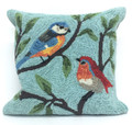 """COLORFUL SONGBIRDS"" HAND TUFTED INDOOR OUTDOOR PILLOW - 18"" SQUARE"