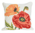 """PRETTY POPPIES"" HAND TUFTED INDOOR OUTDOOR PILLOW - 18"" SQUARE - FLORAL DECOR"