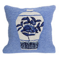 """BLUE & WHITE PORCELAINS"" TUFTED INDOOR OUTDOOR PILLOW - 18"" SQUARE"