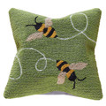 """BUSY BEES"" HAND TUFTED INDOOR OUTDOOR PILLOW - 18"" SQUARE - GARDEN AND OUTDOOR DECOR"
