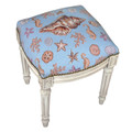 """NEWPORT BEACH"" NEEDLEPOINT UPHOLSTERED STOOL - VANITY SEAT - SEASHELL MOTIF"