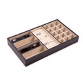 """BROMPTON"" BLACK LEATHER DRESSER ORGANIZER - MENS JEWELRY BOX - EYEGLASS CASE"