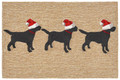 """CHRISTMAS LABS WITH SANTA HATS"" INDOOR OUTDOOR RUG - 24"" x 36"""
