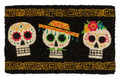 """SCARY SKULLS"" MEXICAN DAY OF THE DEAD COIR DOORMAT - 18"" X 30"" - WELCOME MAT"