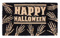 """SCARY SKELETON"" HAPPY HALLOWEEN COIR DOORMAT - 17"" X 28"" - WELCOME MAT"