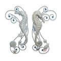 WALL ART - SET OF SEAHORSE & SHELLS WALL SCULPTURES - LEFT & RIGHT FACING - COASTAL & NAUTICAL WALL DECOR