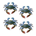 WALL ART - SMALL BLUE CRAB WALL SCULPTURES - SET OF FOUR - NAUTICAL WALL DECOR