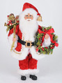 "CHRISTMAS DECORATIONS - ""CHRISTMAS VISIT"" SANTA WITH LIGHTED BERRY WREATH & TOYS - COLLECTIBLE SANTA FIGURINE"
