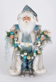 CHRISTMAS DECORATIONS - BEACH SANTA WITH LIGHTED SHELL & ORNAMENT GARLAND - COLLECTIBLE SANTA FIGURINE